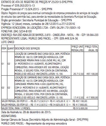 Prefeitura de Natal gasta quase R$ 1 milhão com aluguel de quatro caminhões baús