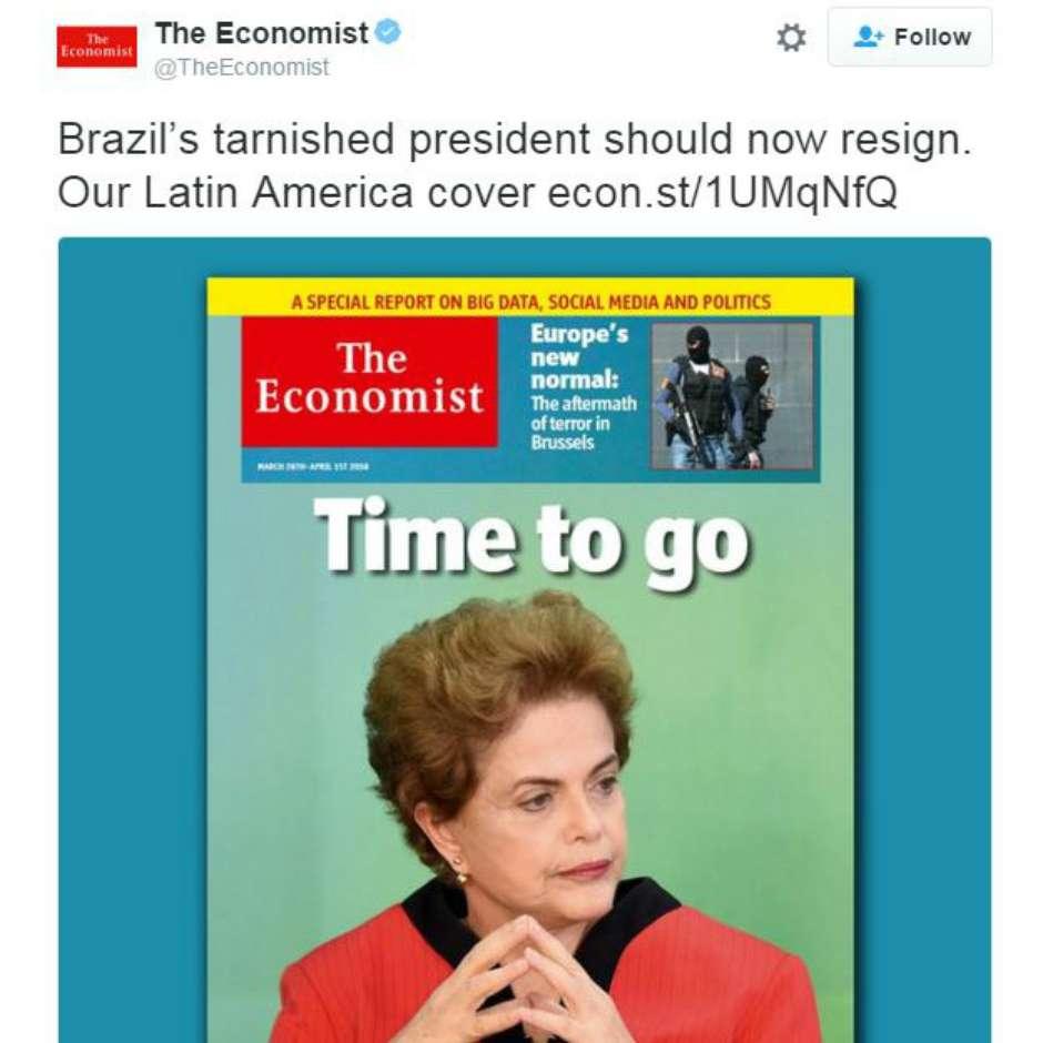"""""""É hora de Dilma ir"""", diz revista 'The Economist'"""