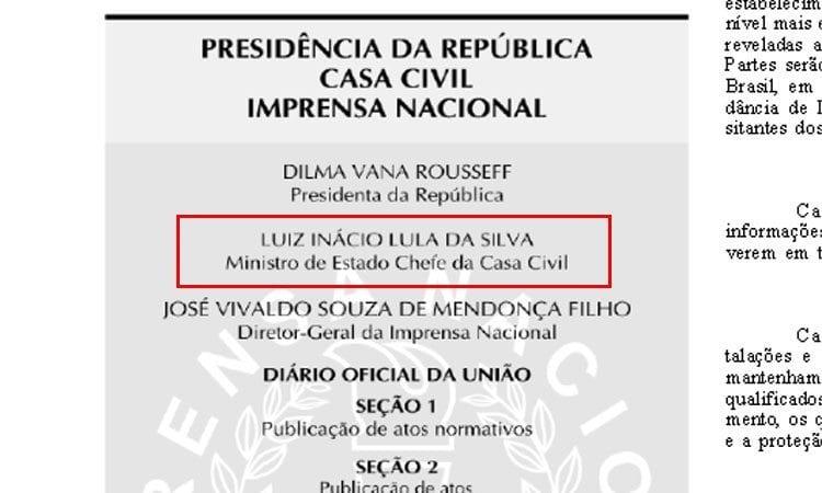 Nome de Lula aparece como ministro no expediente do Diário Oficial