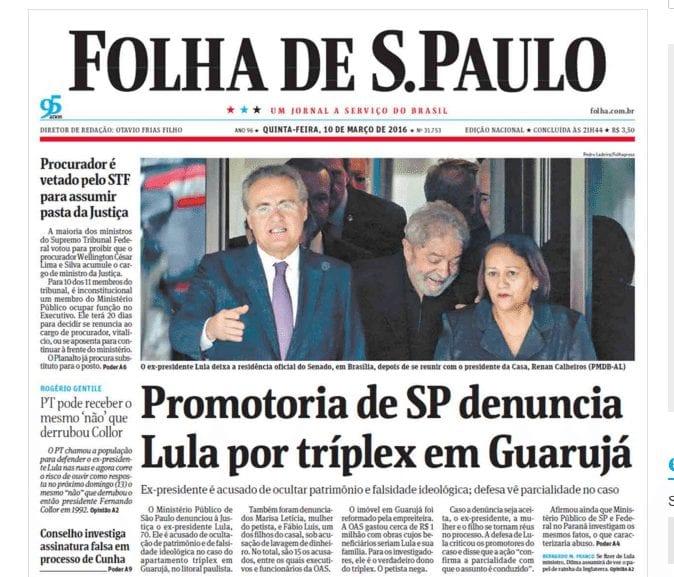 Senadora Fátima na primeira página da Folha de São Paulo