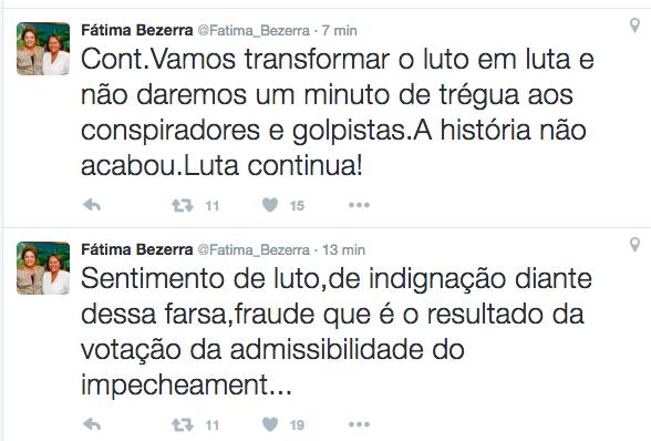 """Senadora Fátima Bezerra: """"o sentimento é de luta, a história não acabou"""""""