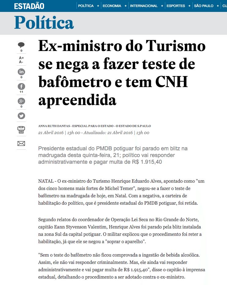 Notícia sobre habilitação retida de ex-ministro do Turismo repercute nacionalmente