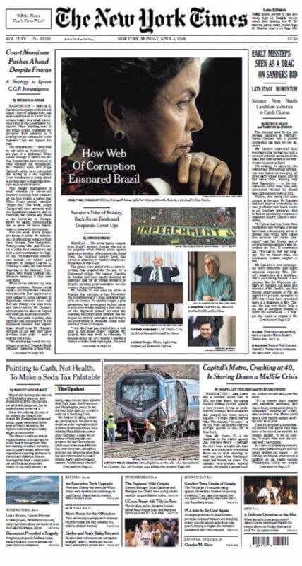 Capa do New York Times destaca a crise política no Brasil