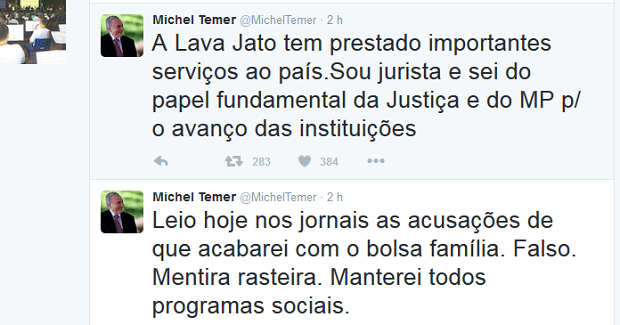 "Temer promete manter programas sociais e diz que ""Lava Jato presta importantes serviços ao país"""