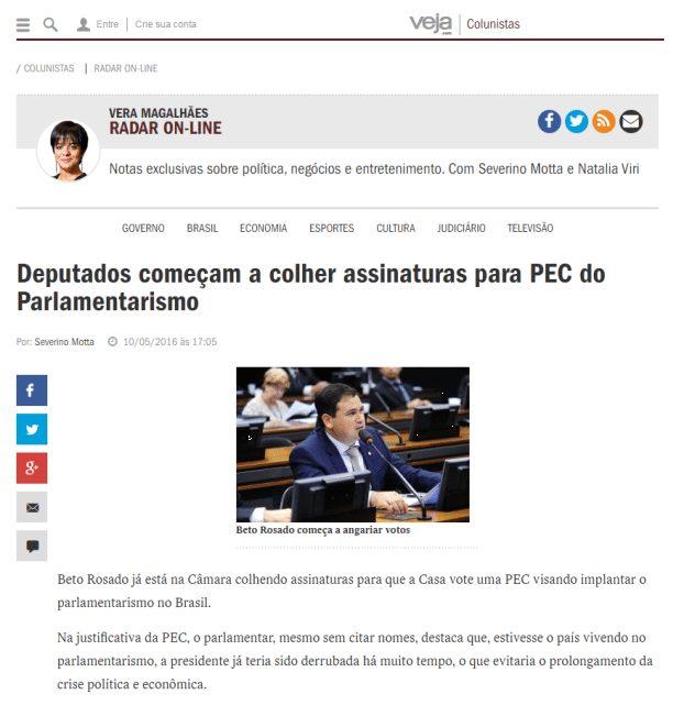 Veja On-Line repercute PEC de Beto Rosado sobre Parlamentarismo