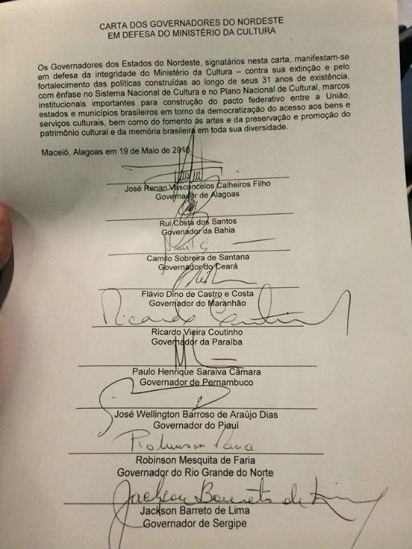 Veja a íntegra da carta dos governadores nordestinos