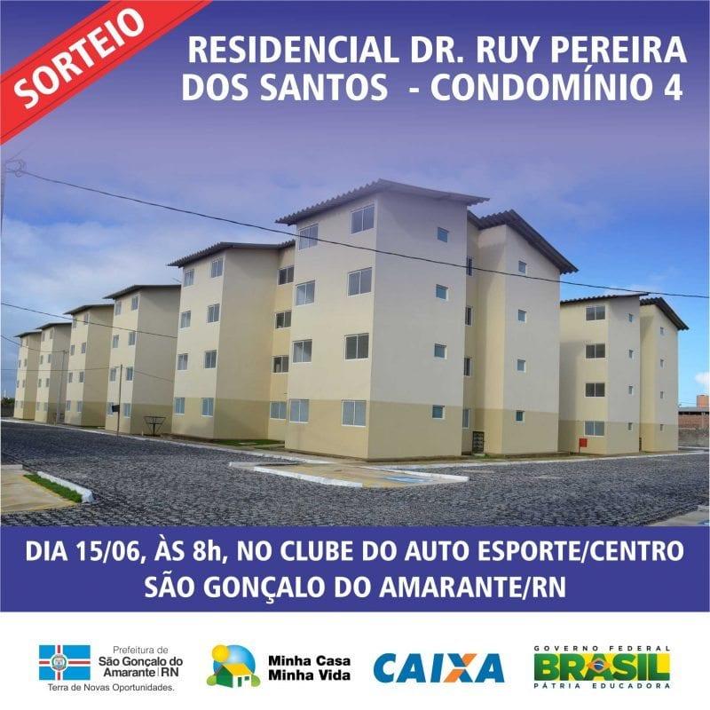 Habitação de São Gonçalo divulga lista para novo sorteio do Condomínio IV do Residencial Dr. Ruy Pereira
