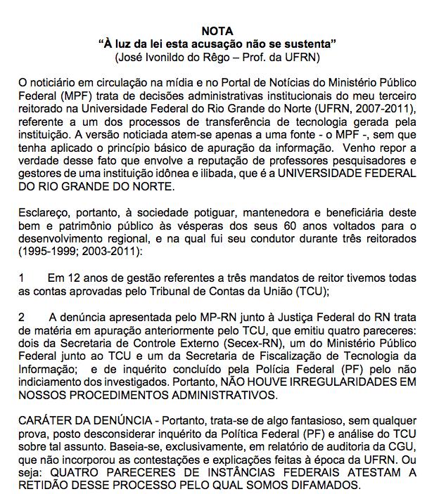 Veja na íntegra a nota de Ivonildo Rego onde afirma que acusação do MPF não se sustenta à luz da lei