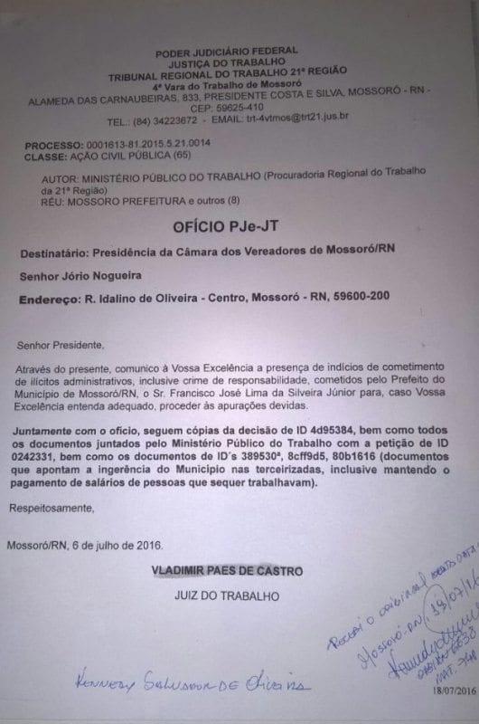 Justiça do Trabalho aponta ilegalidades do prefeito de Mossoró e envia documentos para Câmara Municipal
