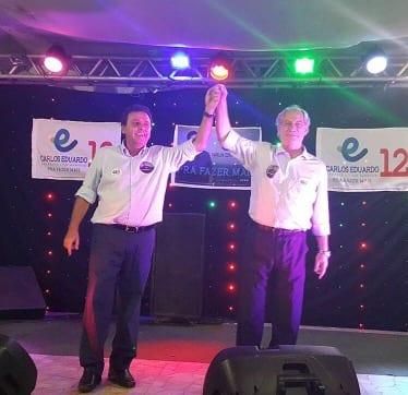 Ex-ministros Ciro Gomes e Carlos Lupi participam da campanha de Carlos Eduardo