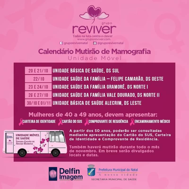Grupo Reviver começa dia 20 mutirão de mamografias