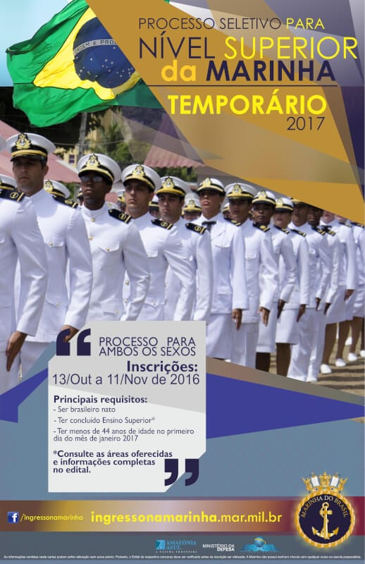 Marinha oferece 450 vagas de nível superior. R$ 8 mil iniciais