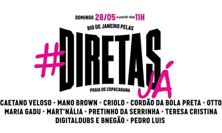 Protesto com show de artistas por eleições diretas no Rio reúne multidão
