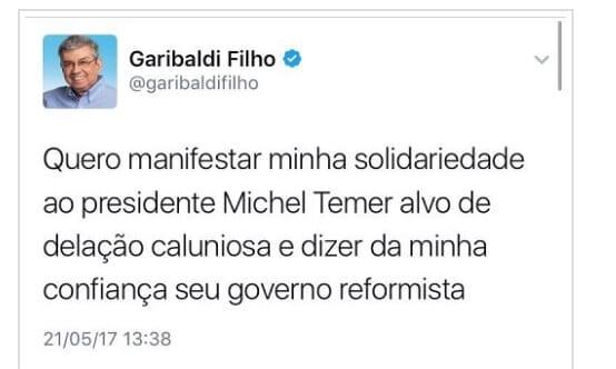 "Senador Garibaldi Filho deleta mensagem de ""solidariedade a Michel Temer"""