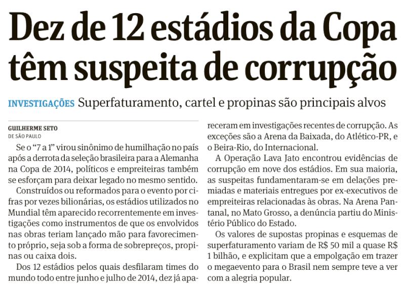 Jornal Folha de São Paulo inclui Arena das Dunas na lista dos 10 estádios com suspeita de propina
