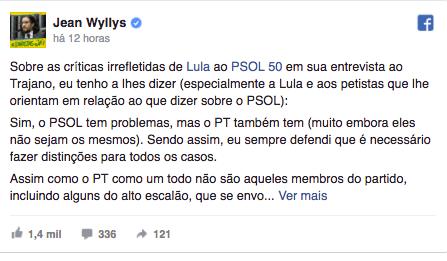 Lula critica PSOL em entrevista e Jean Wyllys rebate no Facebook