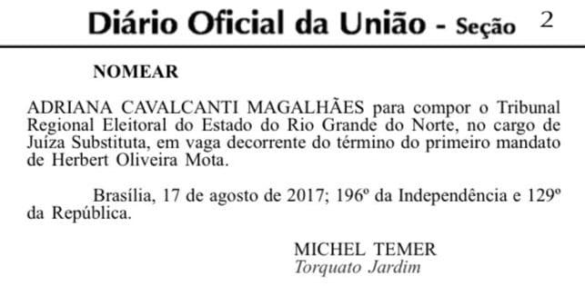 Advogada Adriana Magalhães nomeada como juiz substituta do TRE