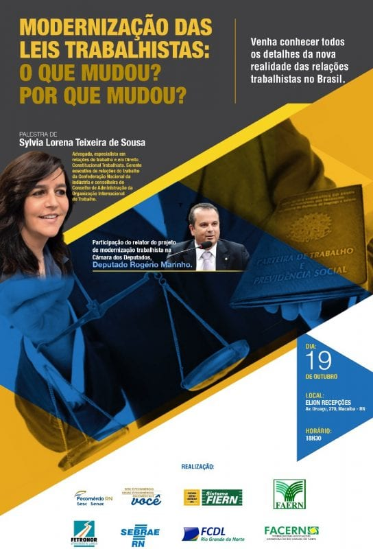 Macaíba será a quarta cidade do RN a receber o Seminário sobre Modernização das Leis Trabalhistas