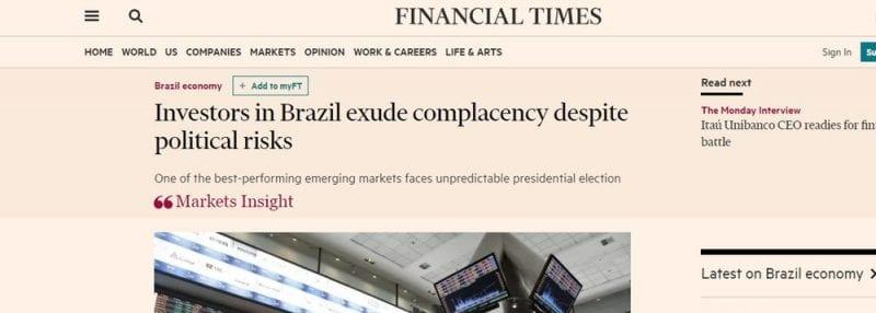 Times: Doria e Bolsonaro, vácuo político do Brasil