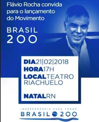Lançamento do Movimento Brasil 200, com Flávio Rocha, será dia 21 no Teatro Richuelo