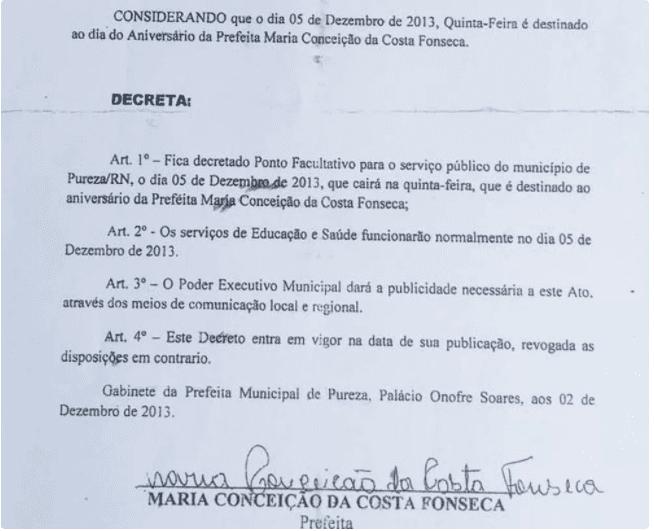 MP denuncia ex-prefeita do RN que decretou ponto facultativo para comemorar o próprio aniversário