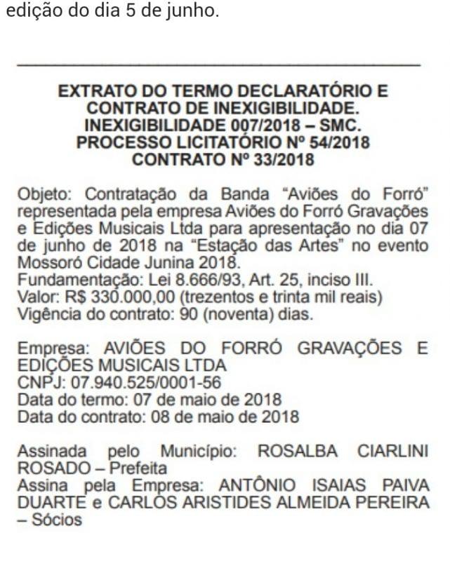 Prefeitura de Mossoró contrata Aviões do Forró por R$ 330 mil