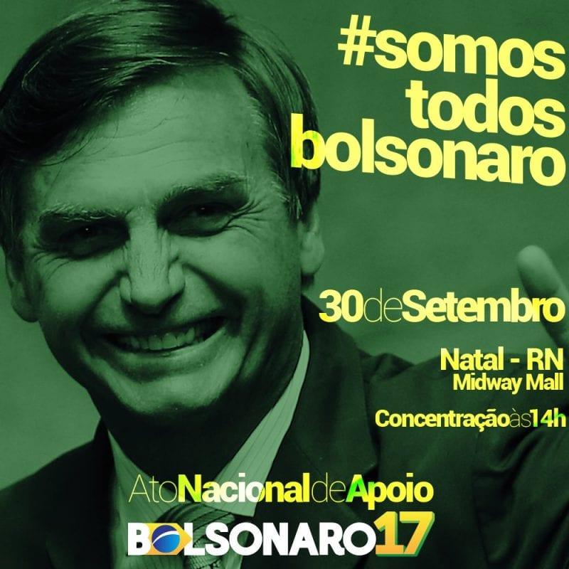 Ato pró-Bolsonaro acontecerá domingo, em Natal