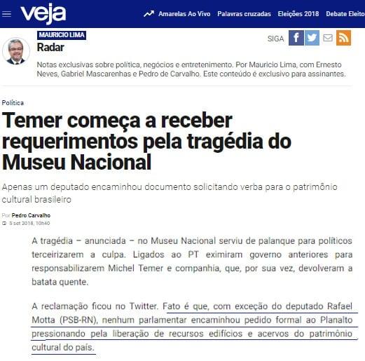 Veja destaca Rafael Motta por ter solicitado recursos para o patrimônio cultural brasileiro