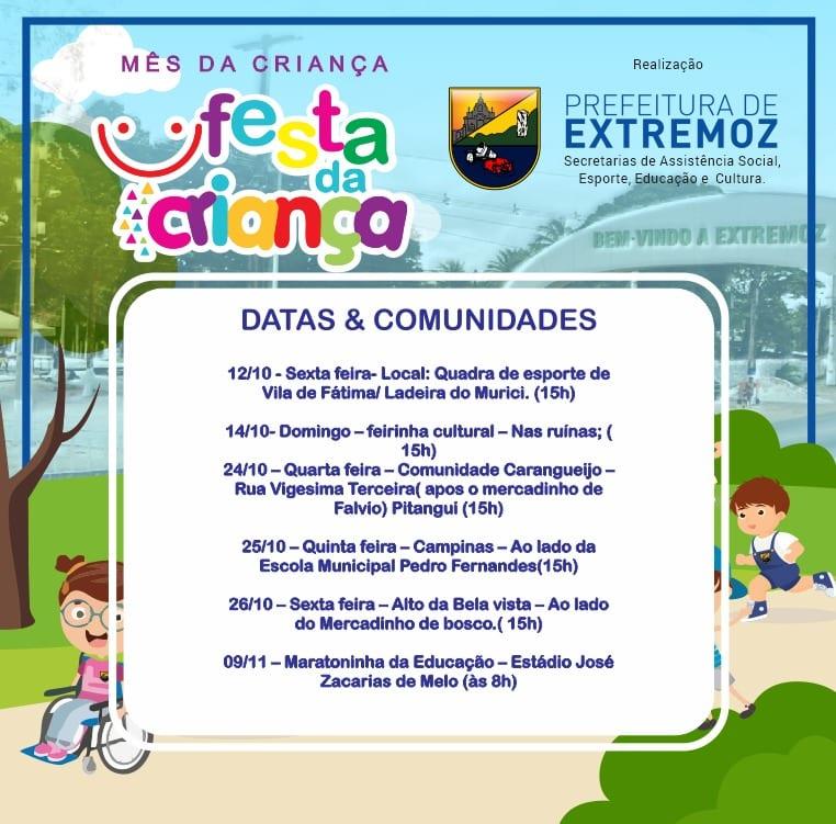 Prefeitura de Extremoz realizará festa para as crianças durante este mês