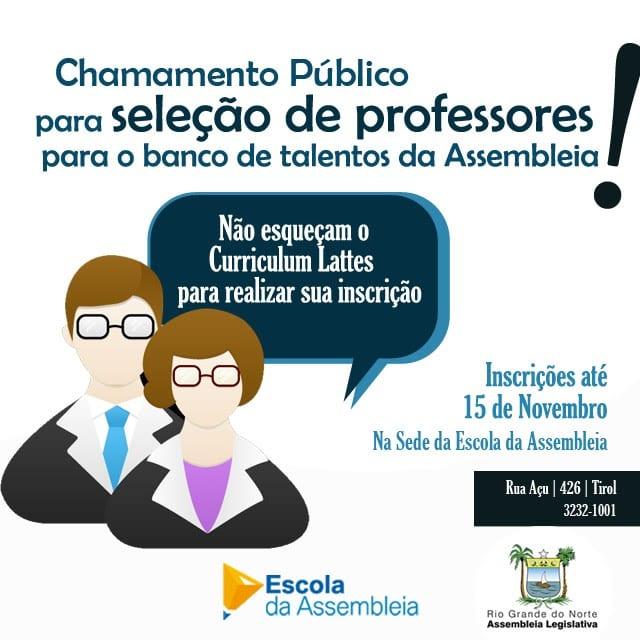 Prazo para Chamamento Público de professores para banco da Escola se encerra no próximo dia 15