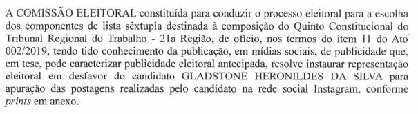 Comissão Eleitoral do Quinto instaura procedimento contra três candidatos