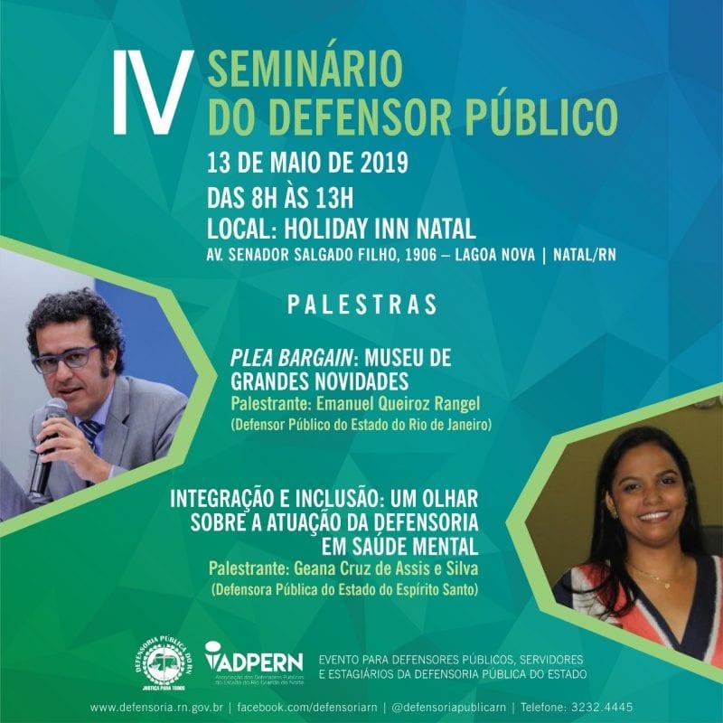 IV Seminário do Defensor Público debate Plea Bargain na próxima segunda-feira