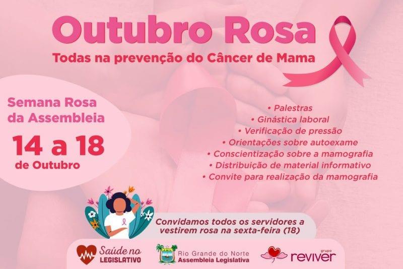Assembleia Legislativa promove ações em alusão ao Outubro Rosa