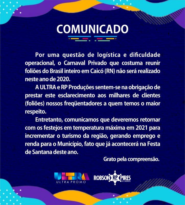 Empresas que promovem o carnaval privado de Caicó emitem nota