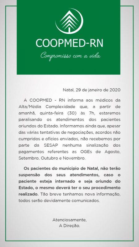 Governo do RN não paga desde agosto de 2019 cooperativa e cirurgias estão suspensas a partir de hoje