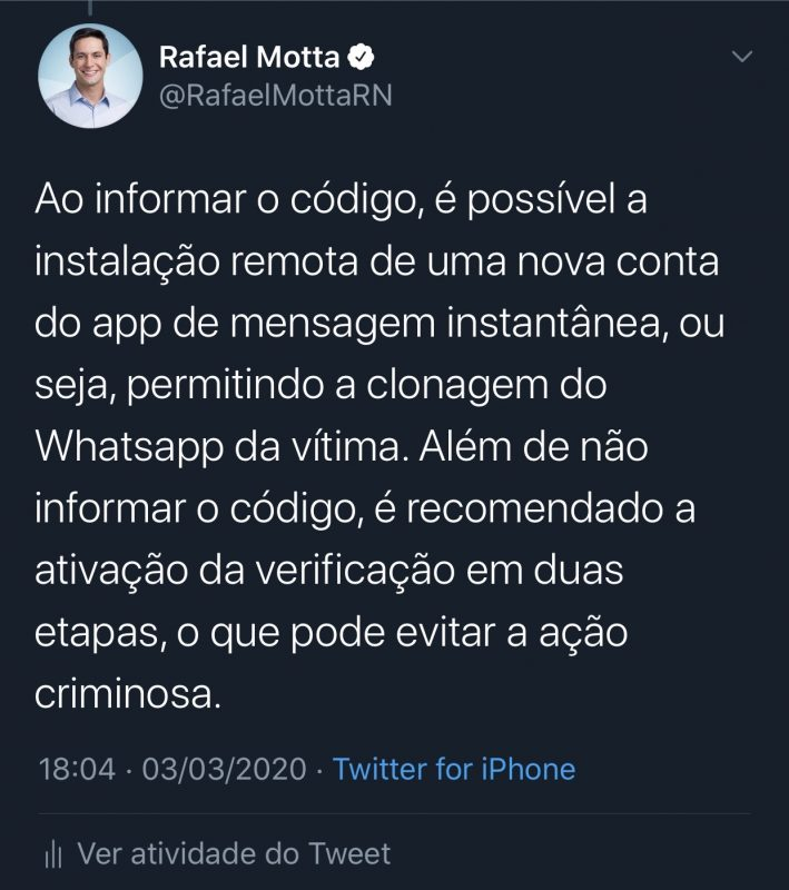 Rafael Motta alerta para golpe com seu nome pelo Whatsapp