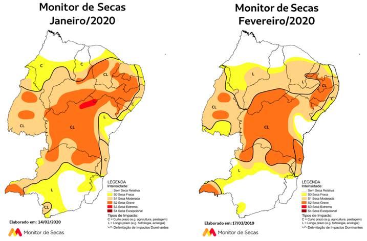 Monitor de Secas aponta diminuição da área com seca e da gravidade do fenômeno no RN em fevereiro