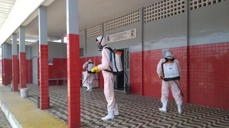 SELIM e SESDEM realizam desinfecção em órgãos de segurança
