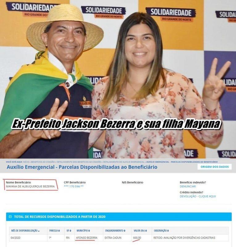 Esposas de vereadores e até filha do ex-prefeito recebem auxílio emergencial em Afonso Bezerra
